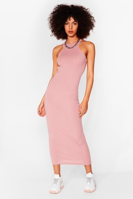 Nasty Gal Womens Racer You There Ribbed Midi Dress - Mauve