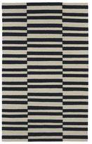 Tribeca Flatweave Black Stripes Wool Rug (3'6 x 5'6)