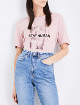 Ksubi Stay Human cotton and linen-blend T-shirt