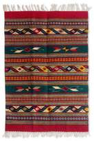 Zapotec Area Rug (2x3.5) in Red and Green, 'Daybreak in the Sierra'
