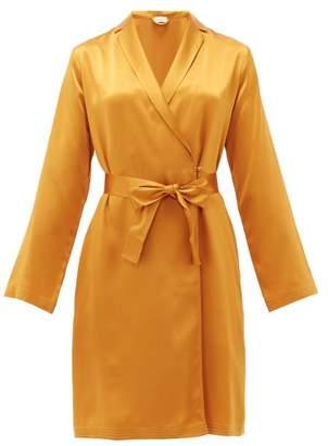 La Perla Short Silk-satin Robe - Womens - Dark Yellow