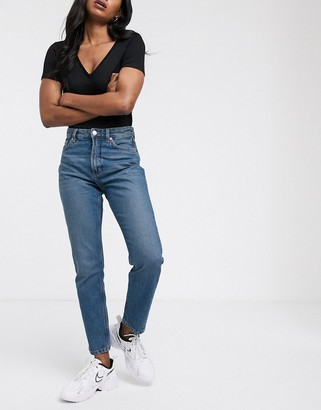 Monki Kimomo organic cotton high waist mom jeans in classic blue