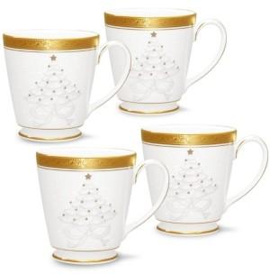 Noritake Crestwood Gold Set/4 Holiday Mugs