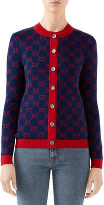 Gucci Long-Sleeve Fine Cotton Crewneck Cardigan