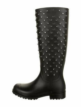 Saint Laurent Crystal Embellishments Rain Boots Black