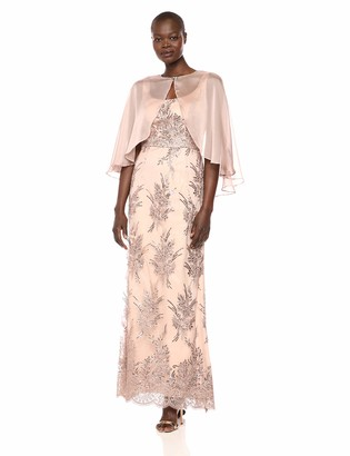 Ignite Women's Sequin Lace Beaded Gown with Cape