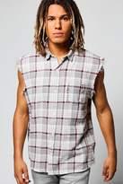 Boohoo Sleeveless Check Shirt In Acid Wash grey