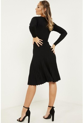 Quiz Ribbed Knitted Long Sleeve Wrap Over Belted Midi Dress - Black