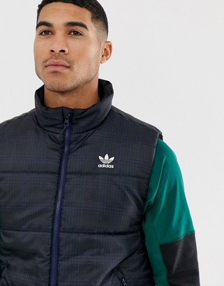 adidas gilet jacket in check print in navy
