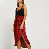 Thumbnail for your product : River Island Womens Red printed twist front midi skirt