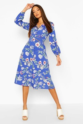 boohoo Floral Button Detail 3/4 Sleeve Midi Dress