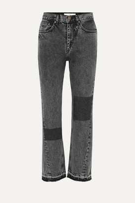 pushBUTTON Patchwork Acid-wash High-rise Straight-leg Jeans - Gray