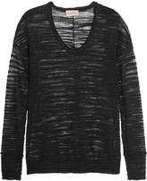 American Vintage Open-knit linen-blend top
