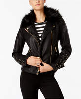GUESS Mixed-Media Moto Jacket