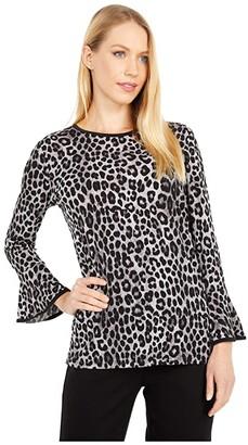 MICHAEL Michael Kors Cheetah Flutter Sleeve Top (Gunmetal) Women's Clothing