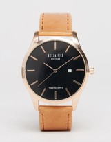 Reclaimed Vintage Leather Watch In Brown & Rose Gold