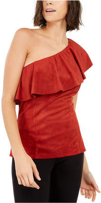 INC International Concepts Inc Faux-Suede One-Shoulder Ruffled Top