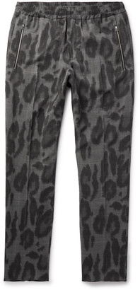 Stella McCartney Slim-Fit Leopard-Print Prince of Wales Checked Wool Trousers - Men - Gray