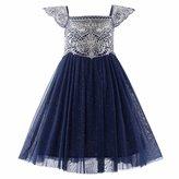 Pettigirl Girls Tulle Dresses Embroidery Flower Party Wedding Communion Dress 3Y
