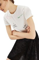 Topshop Women's Scribble Embroidered Tee