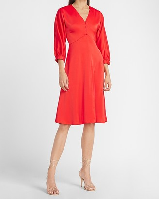 Express Ladygang Satin Button Front Midi Dress