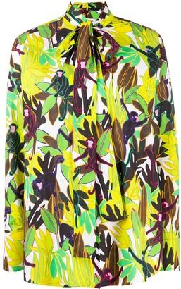 Valentino Monkey Forest bow-embellished blouse
