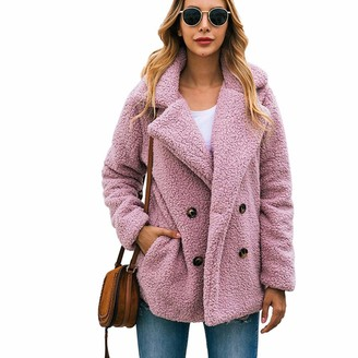 kiss me Womens Winter Fuzzy Fleece Lapel Front Cardigan Button Jacket with Pockets Outerwear (Skin Pink XL)