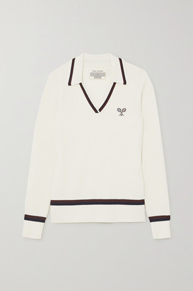 Tory Sport Embroidered Ribbed Merino Wool Sweater - White