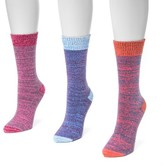 Muk Luks Women's 3 Pair Pack Microfiber Boots Socks - Multicolor One Size