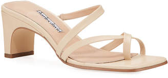 Charles David Henry Asymmetric Leather Sandals