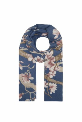 Finecy In - Women Cherry Blossom Flower Floral Print Wool Scarf Shawl Wrap Long Large Warm Soft Winter (Blue)