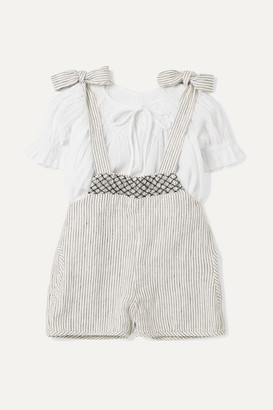 Innika Choo Kids - Smocked Striped Linen Dungarees And Cotton Top Set - Gray