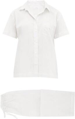 POUR LES FEMMES Eyelet Lace-trim Cotton-lawn Pyjamas - White