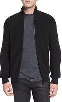 Belstaff Harleston Zip-Up Ribbed Wool Sweater, Charcoal Melange