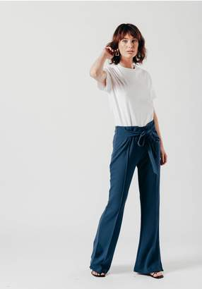Oeuvre Blue Cord Trousers With Fabric Belt