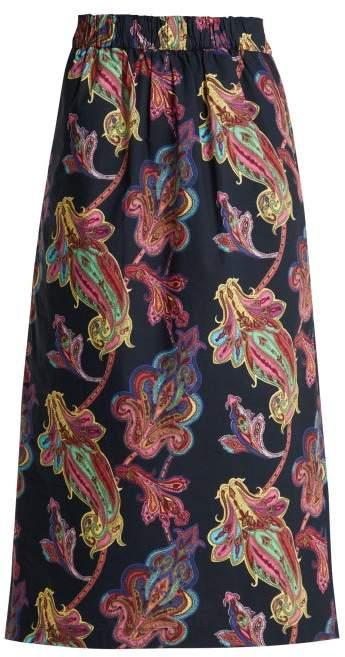 Tibi Paisley Print Cotton Skirt - Womens - Navy Multi