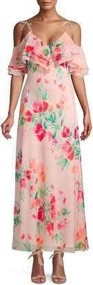 Calvin Klein Collection Floral Ruffle Cold-Shoulder Maxi Dress