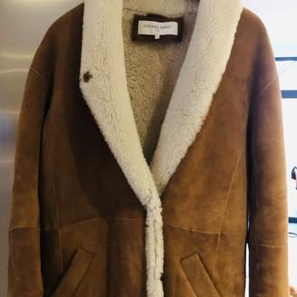 Gerard Darel Camel Shearling Coat for Women