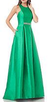 Carmen Marc Valvo Sleeveless Beaded Waist Ball Gown
