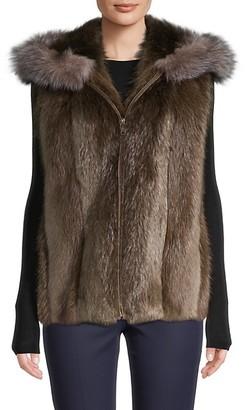Wolfie Fur Beaver Fox Fur Hooded Vest