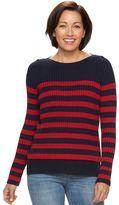 Croft & Barrow Women's Striped Boatneck Sweater
