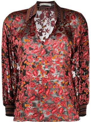 Alice + Olivia Floral Print Blouse