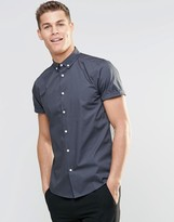 Asos Smart Shirt With Button Down Collar And Short Sleeves In Gray