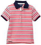 Toobydoo Rouge Bleu Striped Polo (Toddler & Little Boys)