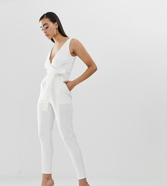 Outrageous Fortune tie waist jumpsuit in white