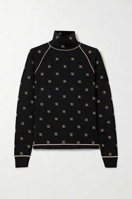 Fendi Embroidered Stretch-jersey Turtleneck Top - Black