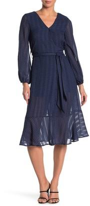 NSR Long Sleeve Faux Wrap Dress