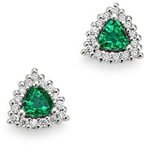 Bloomingdale's Trilliant-Cut Emerald & Diamond Stud Earrings in 14K White Gold - 100% Exclusive