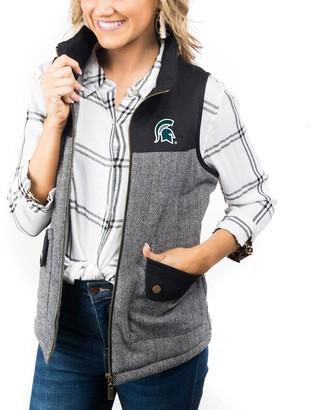 Women's Black Michigan State Spartans Prep For It Herringbone Knit Full-Zip Vest