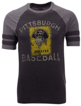 Majestic Men's Pittsburgh Pirates Coop Stripes Earned Raglan T-Shirt